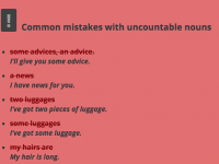8 uncountable nouns and common mistakes learners make when using them